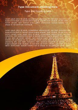 Holiday Eiffel Tower Word Template, Cover Page, 06450, Flags/International — PoweredTemplate.com