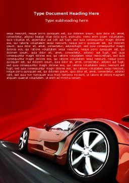 Red Supercar Word Template Cover Page
