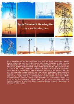 Transmission Lines Word Template, Cover Page, 06482, Utilities/Industrial — PoweredTemplate.com