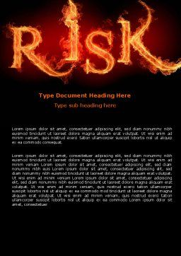 Word Risk In Fire Word Template, Cover Page, 06516, Consulting — PoweredTemplate.com