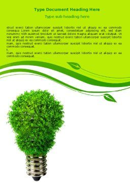 Green Eco Lamp Word Template, Cover Page, 06530, Technology, Science & Computers — PoweredTemplate.com