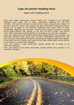 Autumn Road Word Template, Cover Page, 06536, Construction — PoweredTemplate.com
