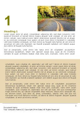 Autumn Road Word Template, First Inner Page, 06536, Construction — PoweredTemplate.com