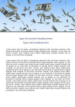Flying Dollars Word Template, Cover Page, 06537, Financial/Accounting — PoweredTemplate.com