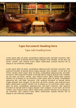 Antique Interior With Chess Word Template, Cover Page, 06545, Business — PoweredTemplate.com