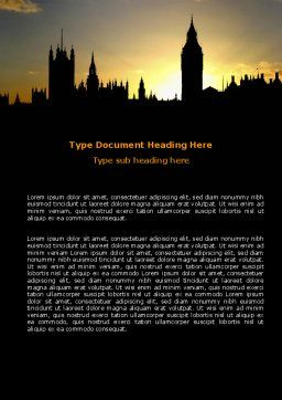 Free Big Ben and House of Parliament Word Template, Cover Page, 06552, Construction — PoweredTemplate.com