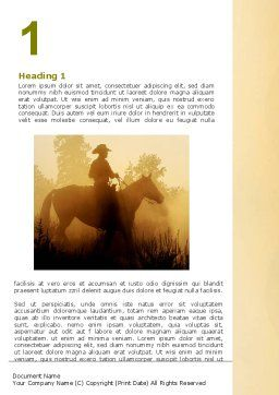 Cowboy Rider Word Template, First Inner Page, 06571, America — PoweredTemplate.com