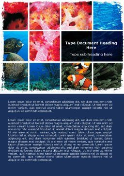 Sea Life Word Template, Cover Page, 06578, Nature & Environment — PoweredTemplate.com