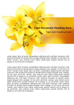 Yellow Lilies Word Template, Cover Page, 06598, Holiday/Special Occasion — PoweredTemplate.com