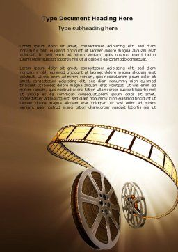 Film Reel In Light Brown Color Word Template Cover Page