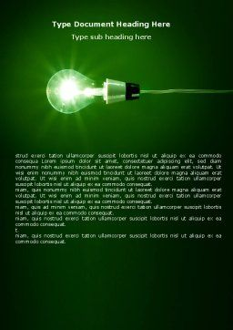 Green Lamp Word Template, Cover Page, 06604, Technology, Science & Computers — PoweredTemplate.com