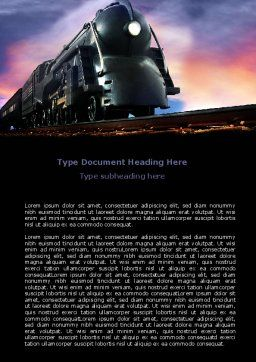 Steam Locomotive Word Template Cover Page
