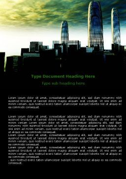 Futuristic Cityscape Word Template, Cover Page, 06613, Construction — PoweredTemplate.com