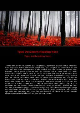 Red Fall Word Template, Cover Page, 06615, Nature & Environment — PoweredTemplate.com