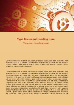 Free Gearwheels Word Template, Cover Page, 06619, Utilities/Industrial — PoweredTemplate.com