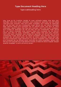 Red Maze Word Template, Cover Page, 06643, 3D — PoweredTemplate.com
