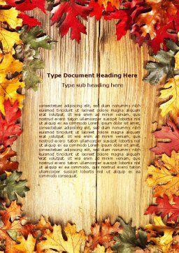 Autumn Leaves Frame Word Template, Cover Page, 06644, Holiday/Special Occasion — PoweredTemplate.com