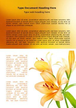 Yellow Lily Word Template, Cover Page, 06649, Holiday/Special Occasion — PoweredTemplate.com