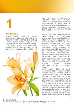 Yellow Lily Word Template, First Inner Page, 06649, Holiday/Special Occasion — PoweredTemplate.com