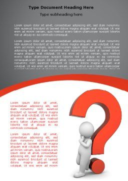 Question Mark Word Template, Cover Page, 06651, 3D — PoweredTemplate.com