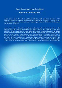 Neon Blue Arrow Word Template, Cover Page, 06652, Business — PoweredTemplate.com
