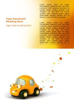 Orange Toy Car Word Template, Cover Page, 06656, Holiday/Special Occasion — PoweredTemplate.com