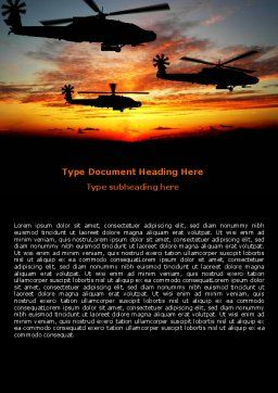 Apache Helicopter AH-64 Word Template, Cover Page, 06658, Military — PoweredTemplate.com