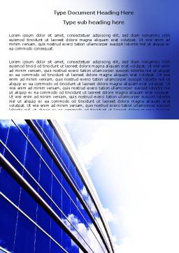 Blue Glass Skyscraper Word Template, Cover Page, 06662, Construction — PoweredTemplate.com