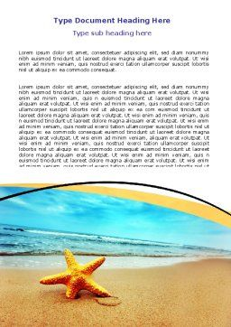Starfish On The Beach Word Template, Cover Page, 06668, Nature & Environment — PoweredTemplate.com