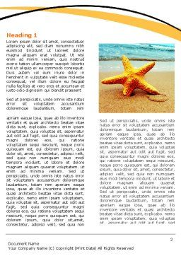 Starfish On The Beach Word Template, First Inner Page, 06668, Nature & Environment — PoweredTemplate.com