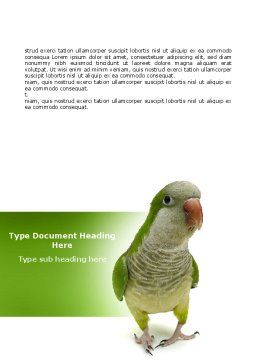 Quaker Parrot Word Template, Cover Page, 06678, Nature & Environment — PoweredTemplate.com