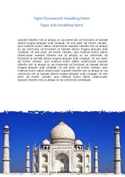 Indian Taj Mahal Word Template Cover Page