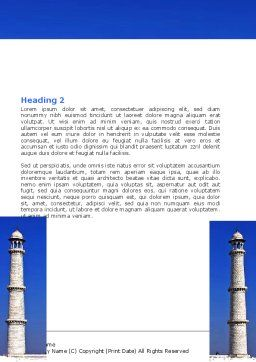 Indian Taj Mahal Word Template Second Inner Page