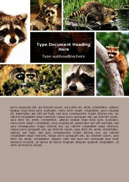 Raccoon Word Template, Cover Page, 06692, Agriculture and Animals — PoweredTemplate.com