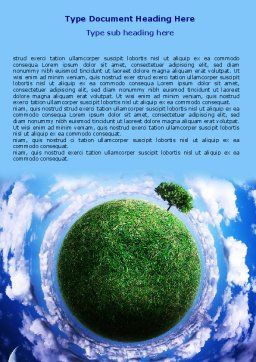 Green Planet In the Space Word Template, Cover Page, 06693, Nature & Environment — PoweredTemplate.com