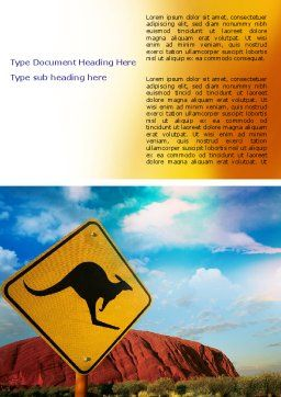 Kangaroo Sign Word Template, Cover Page, 06697, Agriculture and Animals — PoweredTemplate.com