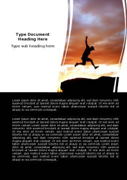 Jumper On Sunset Word Template, Cover Page, 06709, Business Concepts — PoweredTemplate.com