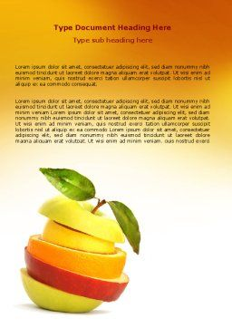 Cut Apple Word Template, Cover Page, 06731, Food & Beverage — PoweredTemplate.com