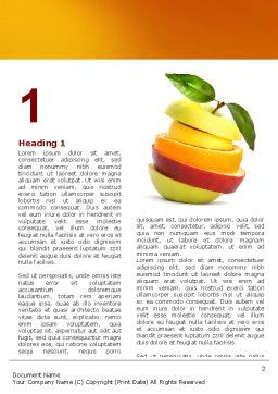 Cut Apple Word Template, First Inner Page, 06731, Food & Beverage — PoweredTemplate.com