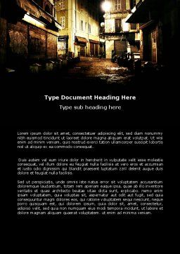 Night Street Word Template, Cover Page, 06735, Construction — PoweredTemplate.com