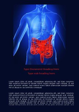 Intestines Word Template, Cover Page, 06738, Medical — PoweredTemplate.com