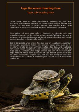 Two Turtles Word Template, Cover Page, 06741, Agriculture and Animals — PoweredTemplate.com