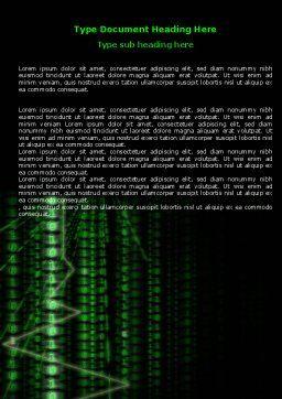 Matrix Code Stream Word Template, Cover Page, 06754, Telecommunication — PoweredTemplate.com