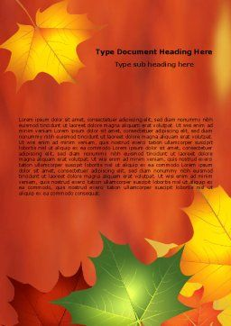 Autumn Leaves Theme Word Template, Cover Page, 06756, Nature & Environment — PoweredTemplate.com