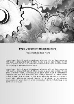 Gray Gear Mechanism Word Template, Cover Page, 06764, Utilities/Industrial — PoweredTemplate.com