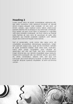 Gray Gear Mechanism Word Template, Second Inner Page, 06764, Utilities/Industrial — PoweredTemplate.com