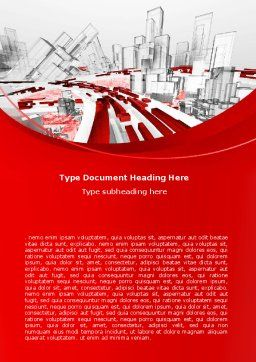 Abstract City Collapse Word Template, Cover Page, 06774, Construction — PoweredTemplate.com
