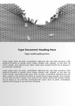 Broken Wall In Gray Word Template, Cover Page, 06781, Consulting — PoweredTemplate.com