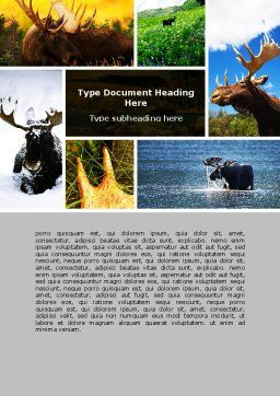 Moose Word Template, Cover Page, 06785, Agriculture and Animals — PoweredTemplate.com