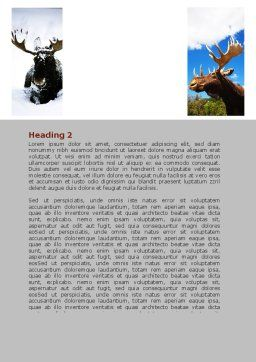Moose Word Template, Second Inner Page, 06785, Agriculture and Animals — PoweredTemplate.com